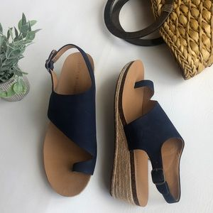 Lucky Brand navy leather wedges espadrilles 11M